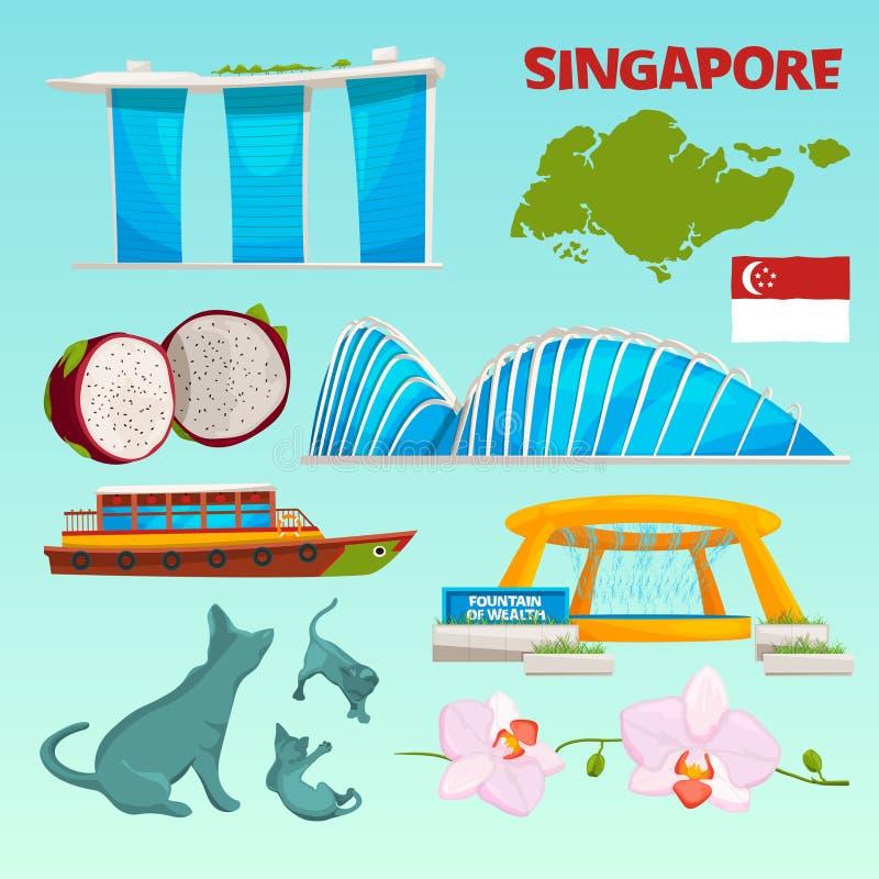 Punti di riferimento differenti stabiliti di Singapore illustrazione vettoriale