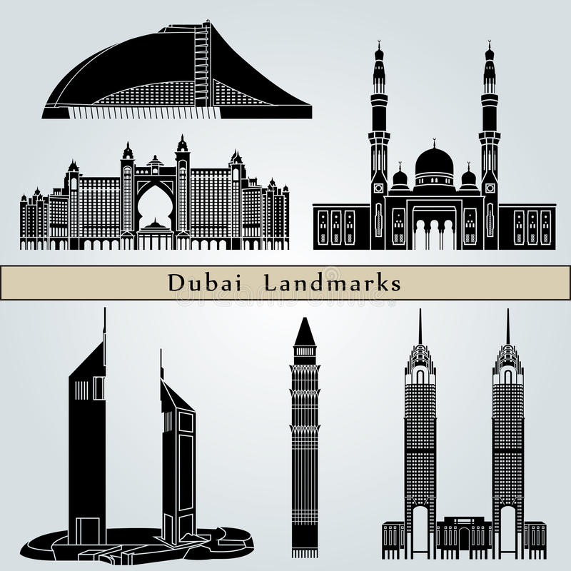 Punti di riferimento e monumenti del Dubai illustrazione di stock