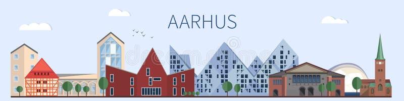 Punti di riferimento e monumenti di Aarhus nello stile piano illustrazione di stock