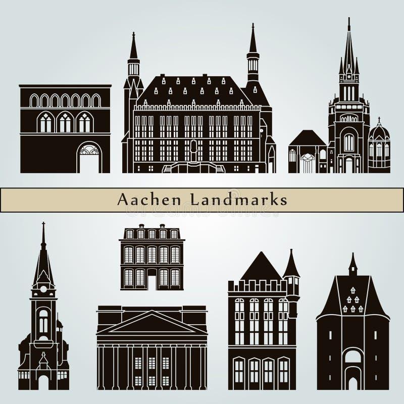 Punti di riferimento e monumenti di Aquisgrana illustrazione vettoriale