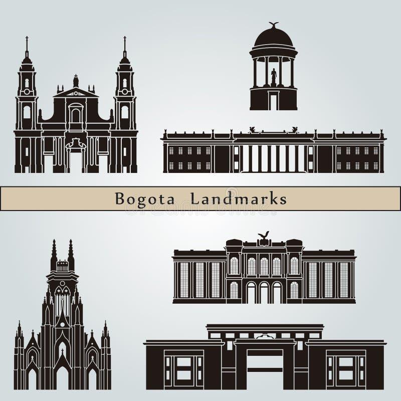 Punti di riferimento e monumenti di Bogota illustrazione vettoriale