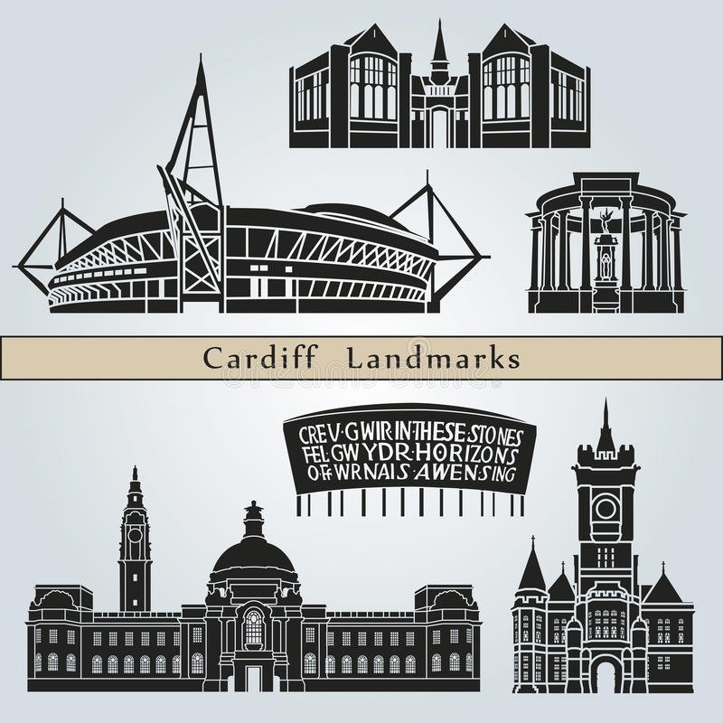 Punti di riferimento e monumenti di Cardiff illustrazione vettoriale