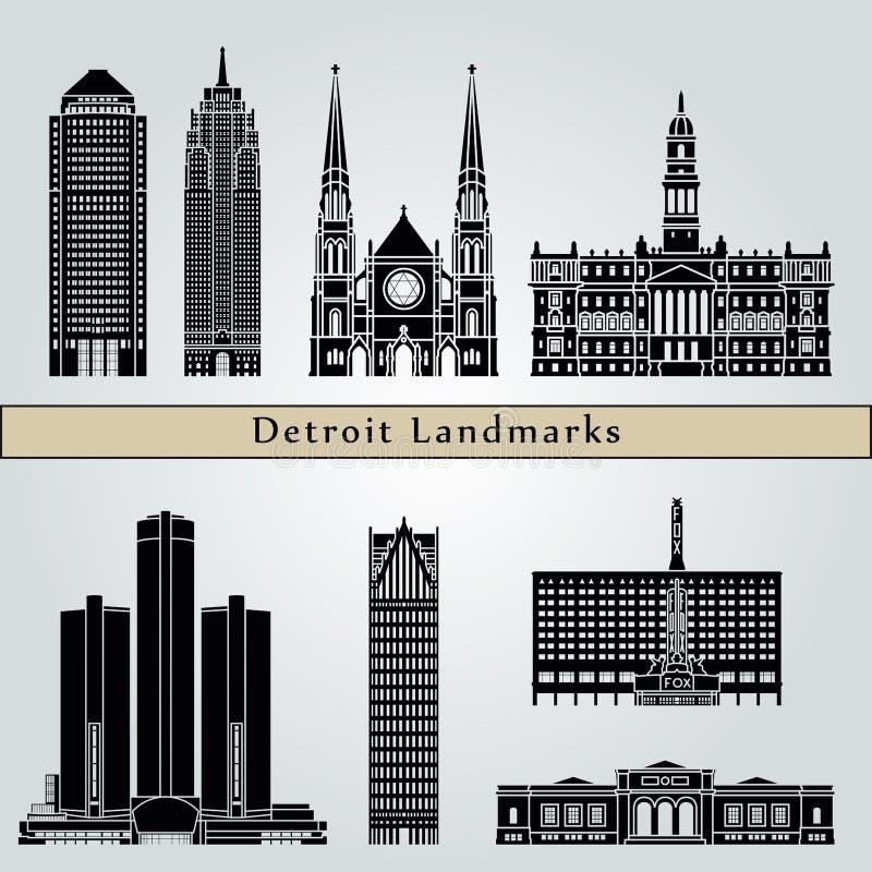 Punti di riferimento e monumenti di Detroit royalty illustrazione gratis