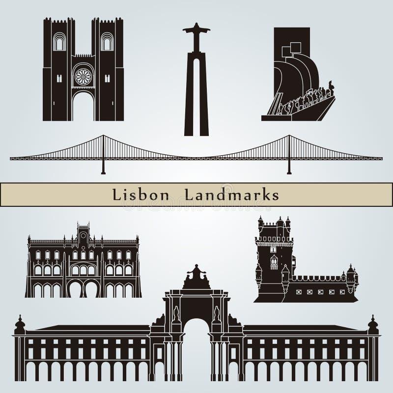 Punti di riferimento e monumenti di Lisbona royalty illustrazione gratis