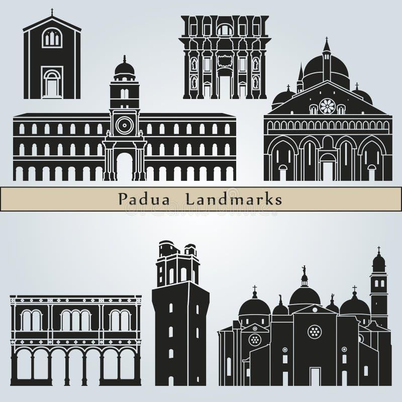 Punti di riferimento e monumenti di Padova illustrazione vettoriale