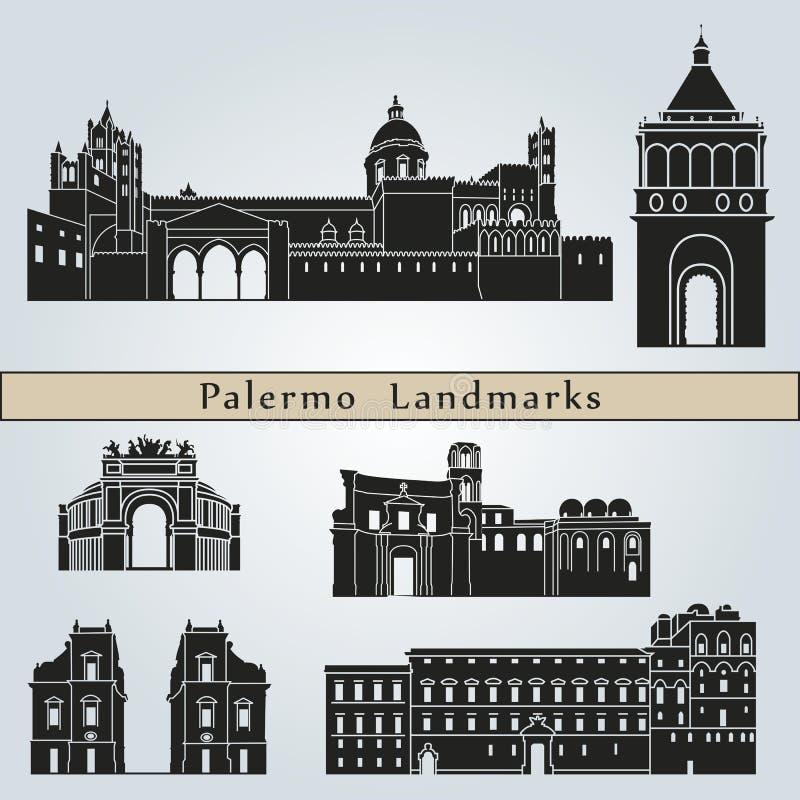 Punti di riferimento e monumenti di Palermo illustrazione di stock