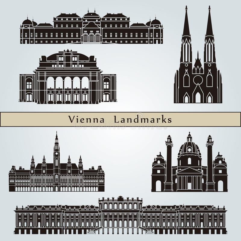 Punti di riferimento e monumenti di Vienna illustrazione vettoriale