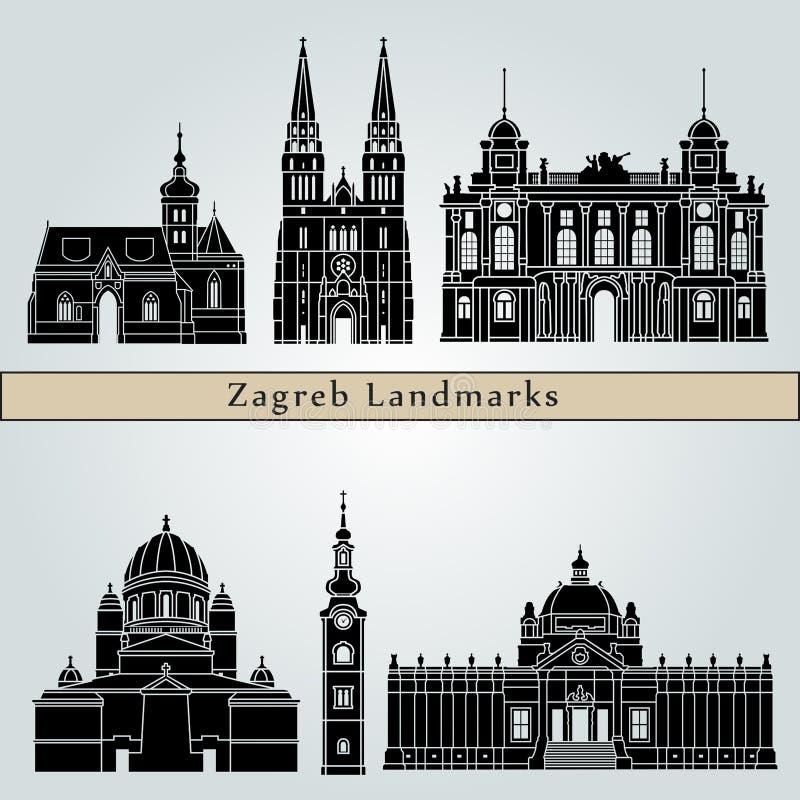 Punti di riferimento e monumenti di Zagabria royalty illustrazione gratis