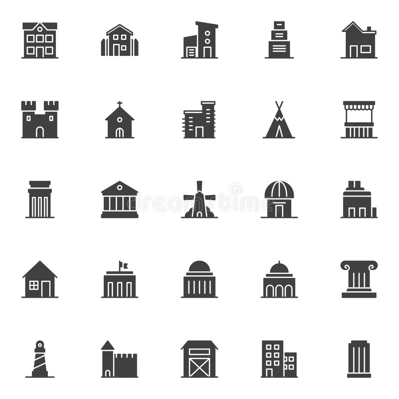 Punti di riferimento ed icone di vettore della costruzione messe illustrazione di stock