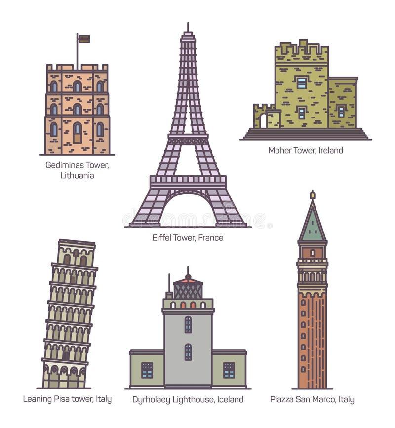 Punti di riferimento europei con le torri nella linea sottile illustrazione di stock