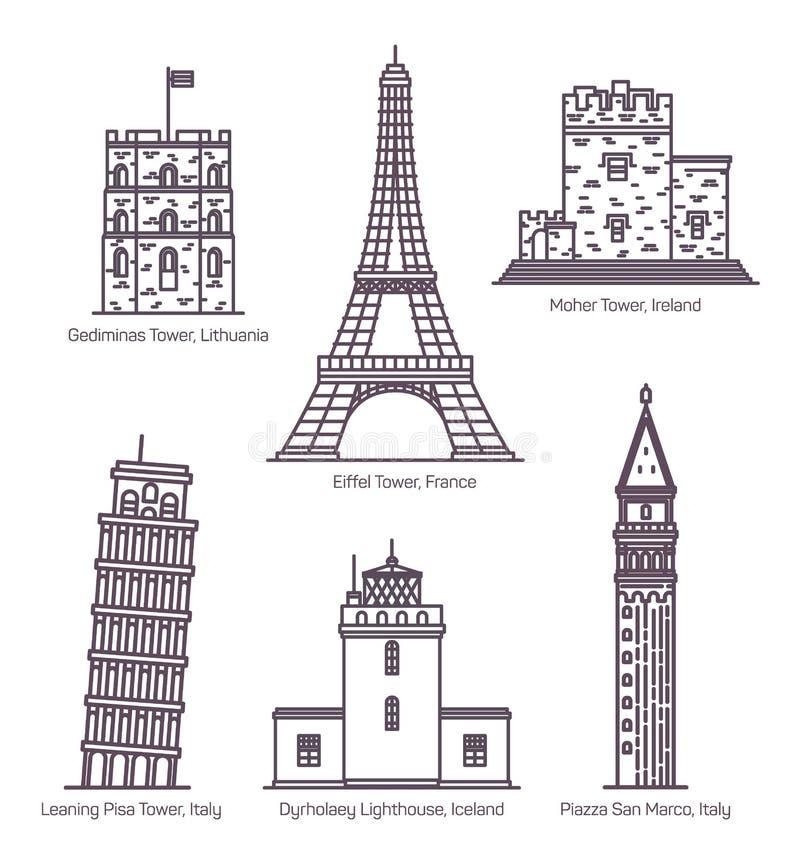 Punti di riferimento europei con le torri nella linea sottile royalty illustrazione gratis