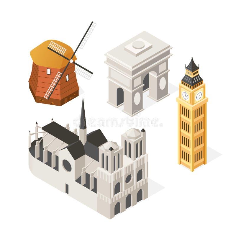 Punti di riferimento europei - insieme isometrico variopinto degli oggetti royalty illustrazione gratis