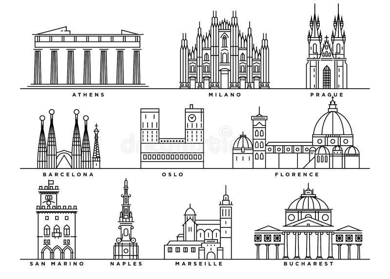 Punti di riferimento famosi di Europa con la linea stile piana illustrazione di stock