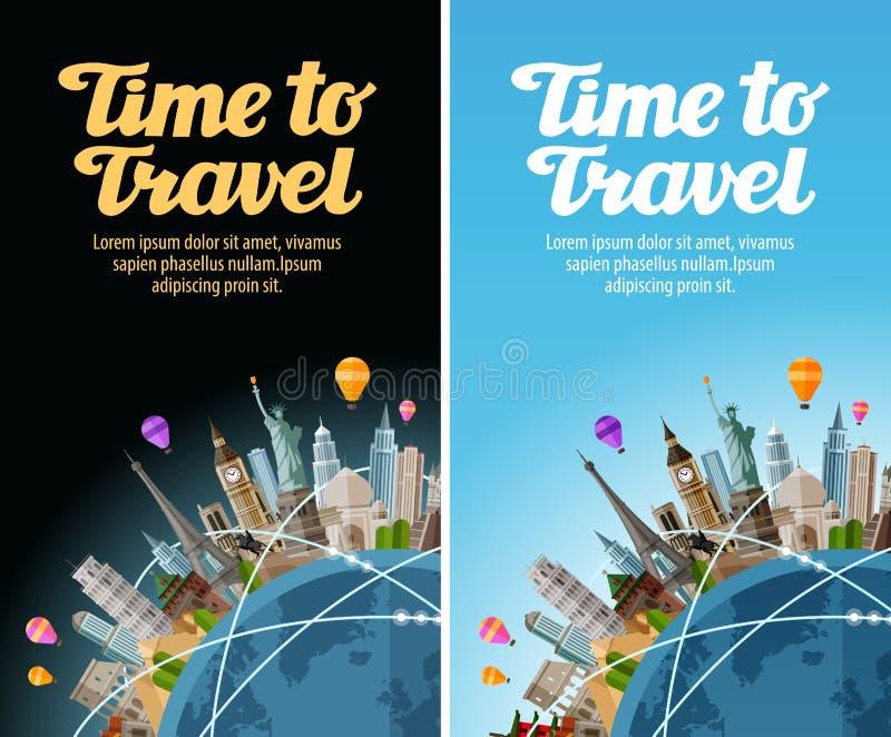 Punti di riferimento sul globo Viaggio al mondo Viaggio, viaggio royalty illustrazione gratis