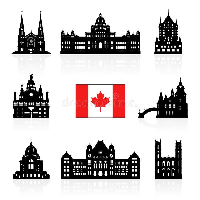 Punti di riferimento di viaggio dell'icona del Canada illustrazione vettoriale