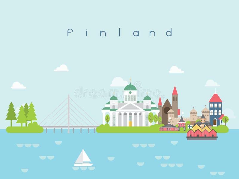 Punti di riferimento viaggio della Finlandia e vettore di viaggio illustrazione di stock