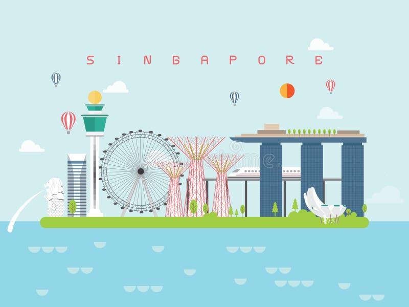 Punti di riferimento viaggio di Singapore e vettore di viaggio royalty illustrazione gratis