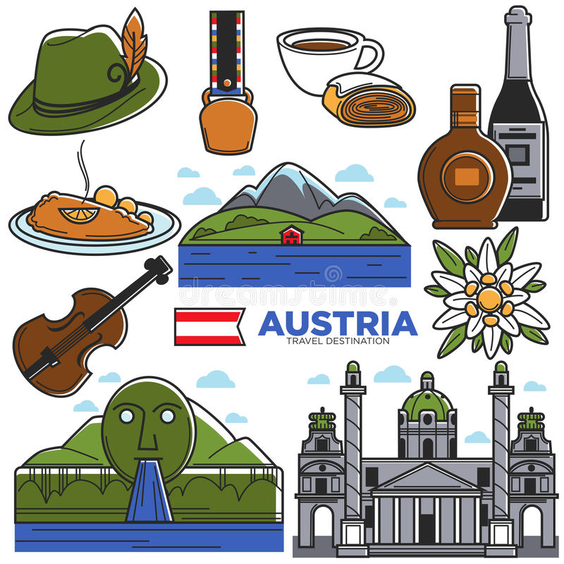 Punti di riferimento di viaggio di turismo dell'Austria ed icone facenti un giro turistico famose di vettore messi royalty illustrazione gratis