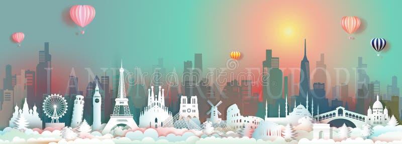 Punti di riferimento di viaggio di vettore di Europa con il grattacielo e l'alba variopinta royalty illustrazione gratis