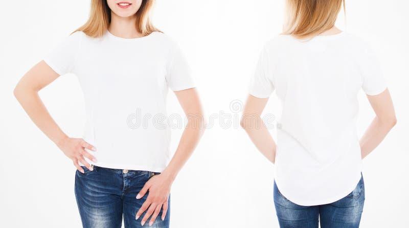 Punti di vista anteriori e posteriori della donna graziosa, ragazza in maglietta alla moda sopra fotografia stock