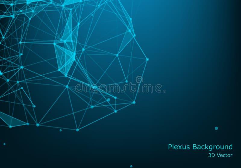 Punti e fondo dei triangoli con la particella, struttura della molecola composti genetici e chimici spazio e costellazioni creati royalty illustrazione gratis