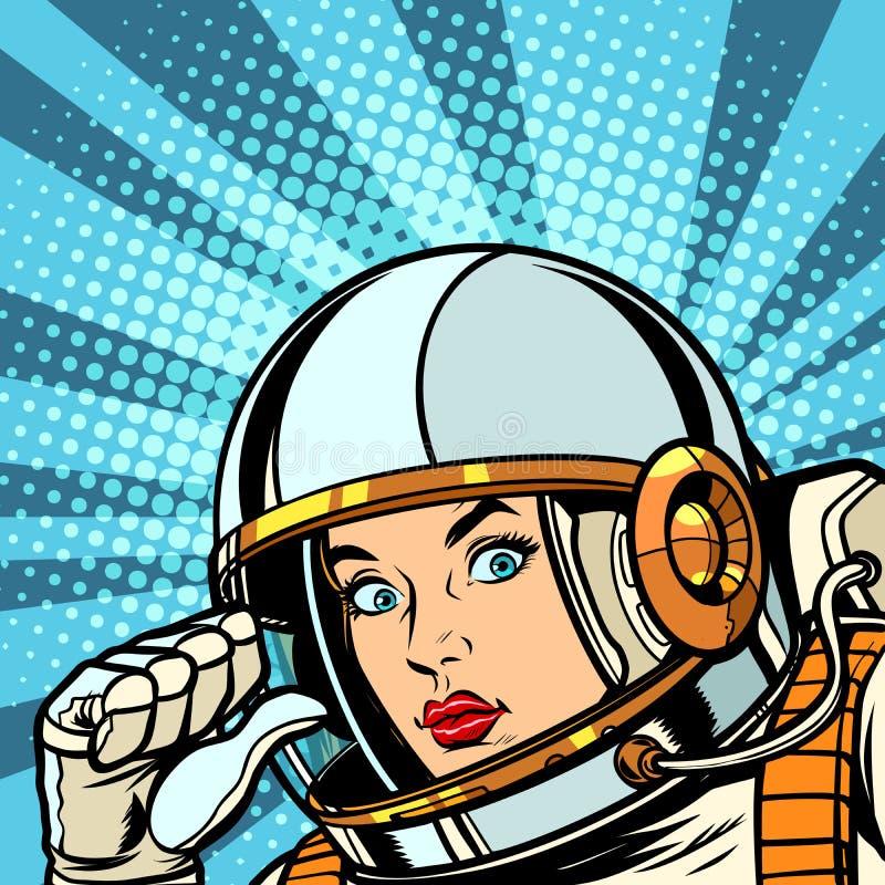 Punti femminili dell'astronauta a se stesso pollice royalty illustrazione gratis