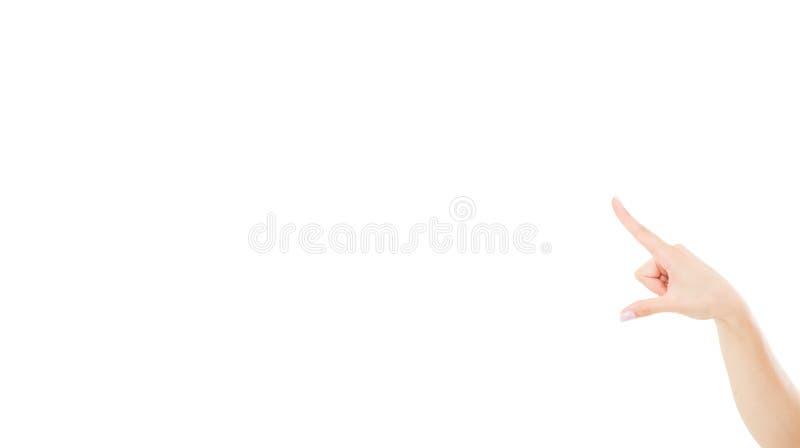 Punti femminili della mano a fondo bianco, falso su, spazio della copia fotografia stock libera da diritti