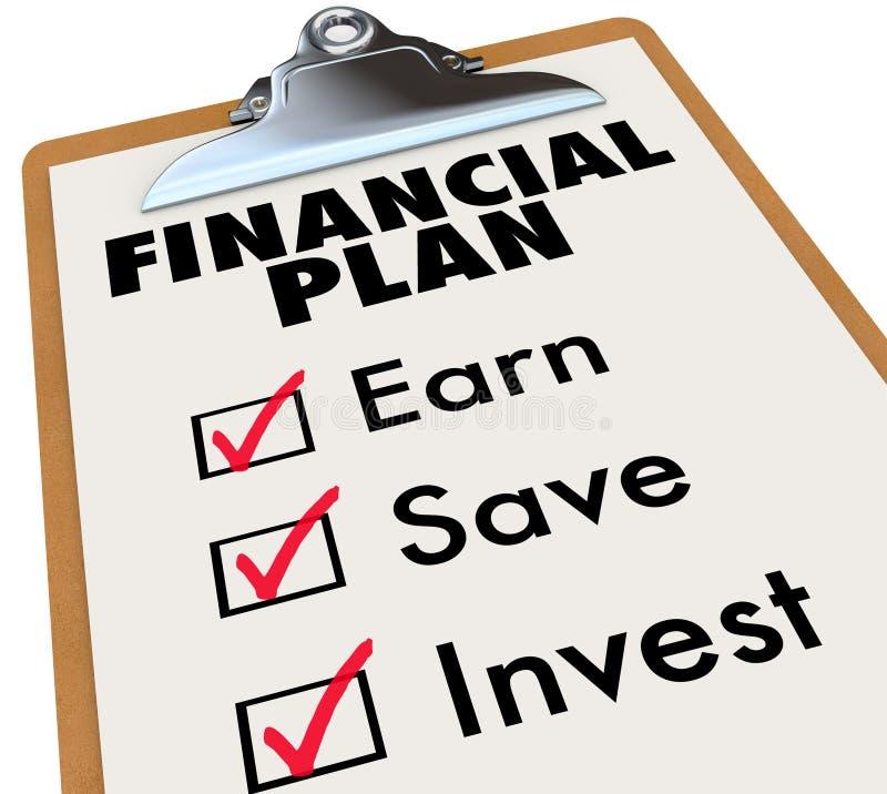 Punti finanziari di strategia di risparmio dei soldi della lavagna per appunti di piano illustrazione vettoriale