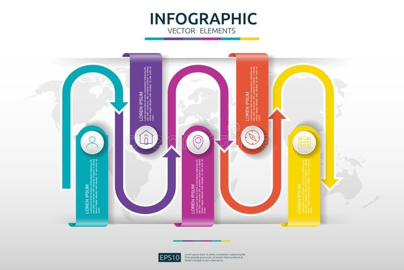 6 punti infographic modello di progettazione di cronologia con l'elemento di collegamento della freccia della carta 3D Concetto d royalty illustrazione gratis