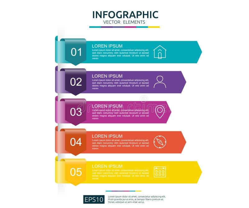 5 punti infographic modello di progettazione di cronologia con l'elemento della carta della freccia 3D Concetto di affari con le  illustrazione di stock