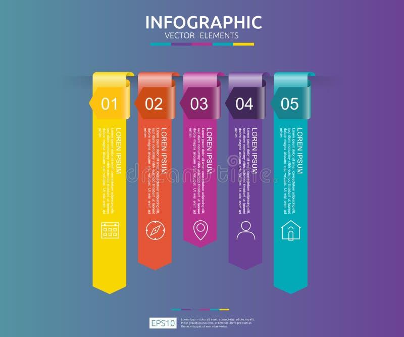 5 punti infographic modello di progettazione di cronologia con l'elemento della carta della freccia 3D Concetto di affari con le  illustrazione vettoriale