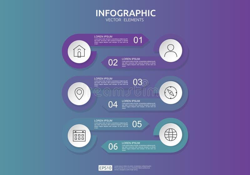 6 punti infographic modello di progettazione di cronologia con l'etichetta della carta 3D, cerchi integrati Concetto di affari co illustrazione di stock