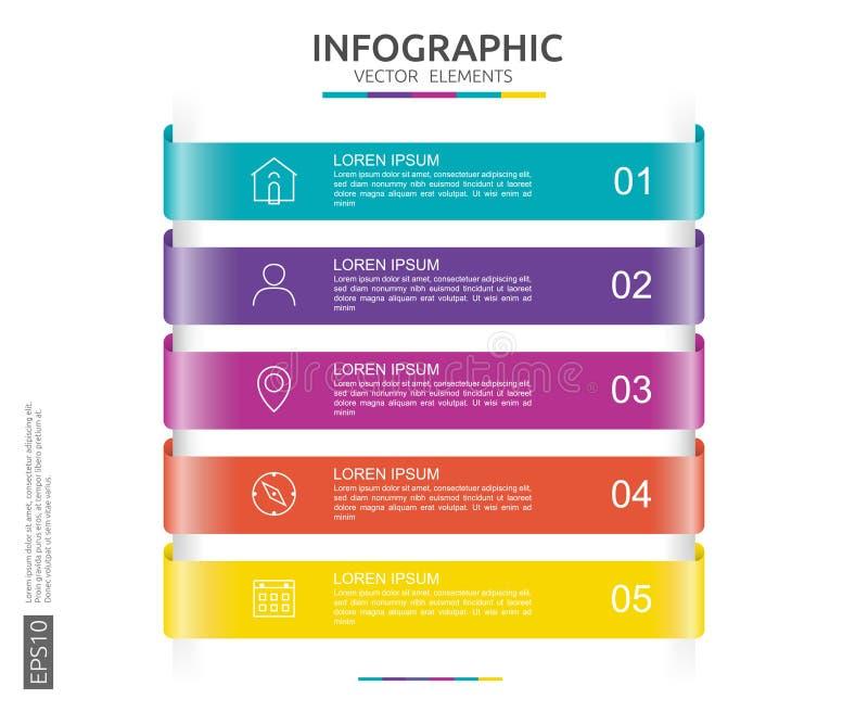 6 punti infographic modello di progettazione di cronologia con l'etichetta della carta 3D Concetto di affari con le opzioni Per i illustrazione di stock