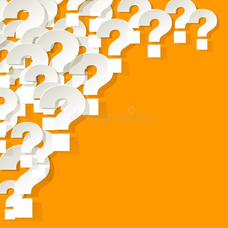 Punti interrogativi bianchi nell'angolo su un fondo giallo illustrazione vettoriale