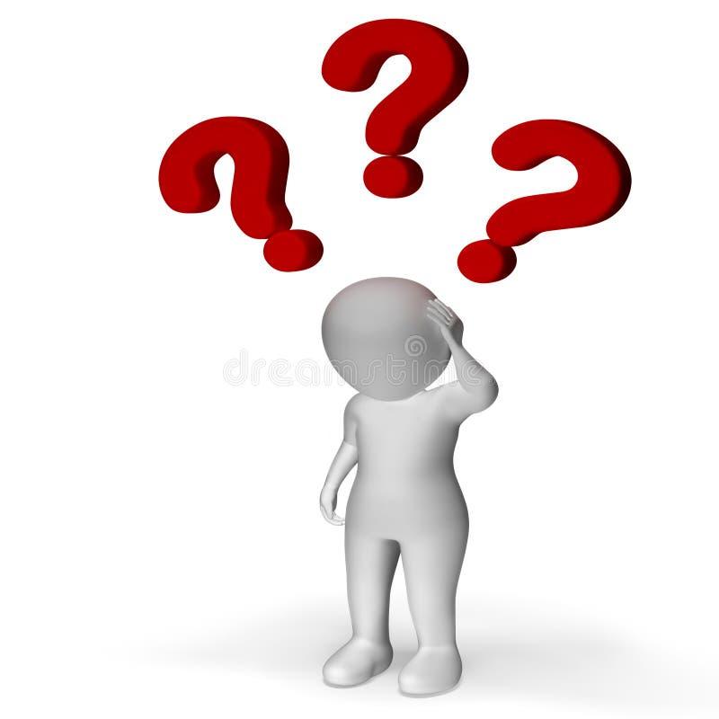 Punti interrogativi sopra l'uomo che mostra confusione ed incertezza illustrazione di stock