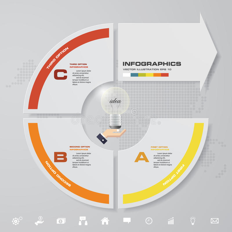 3 punti moderni con l'elemento infographic della freccia con l'insieme delle icone per la presentazione illustrazione di stock