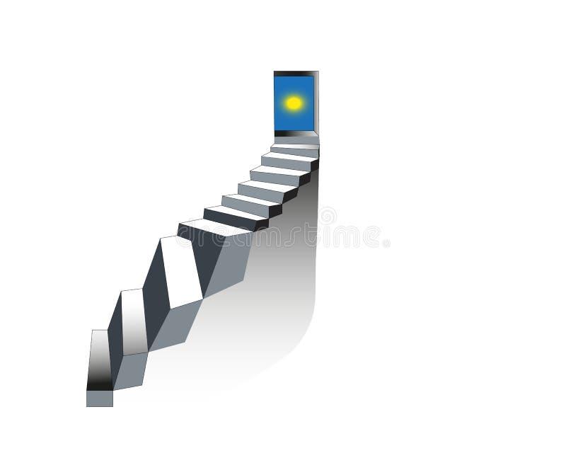 punti Scala al cielo Scala di pietra realistica con la porta aperta Illustrazione di vettore Concetto della scala illustrazione di stock