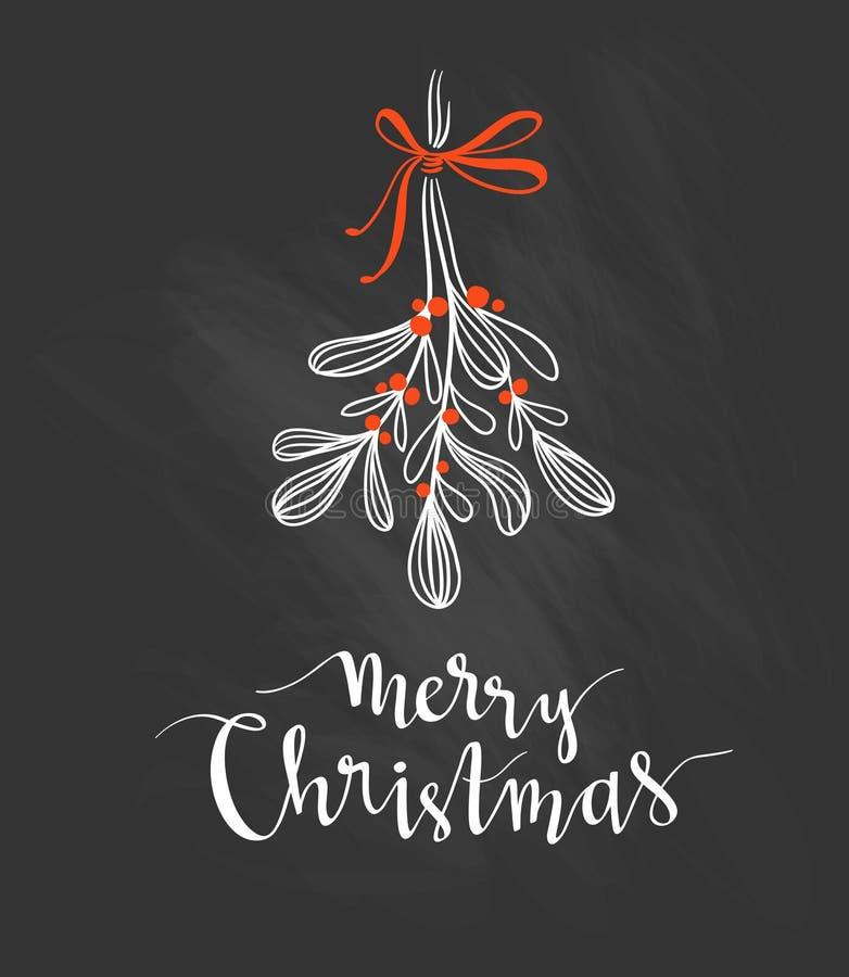 Puntilla de la Navidad del muérdago con las letras del día de fiesta - Feliz Navidad Ilustración del vector libre illustration