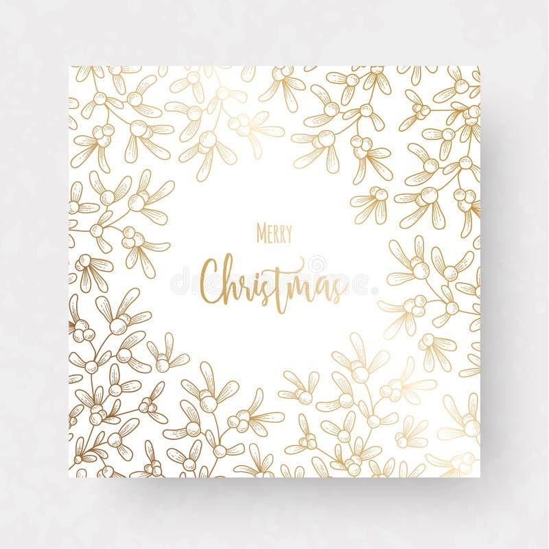 Puntilla de la Navidad del muérdago Ejemplo para las tarjetas de felicitación, las invitaciones, y otros proyectos de la impresió stock de ilustración