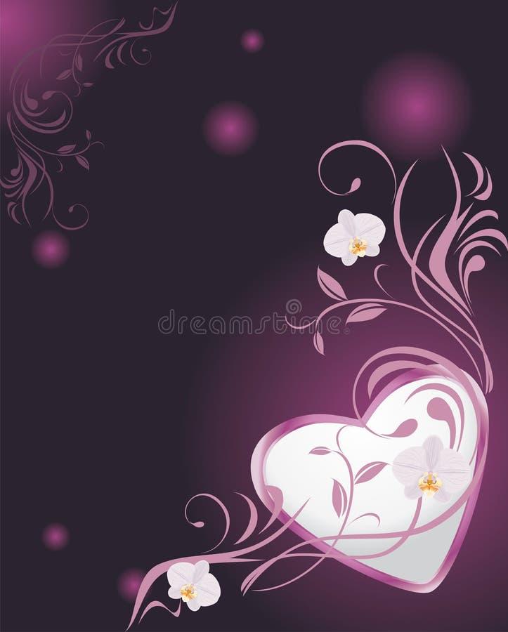 Puntilla ornamental con las orquídeas y el corazón brillante ilustración del vector