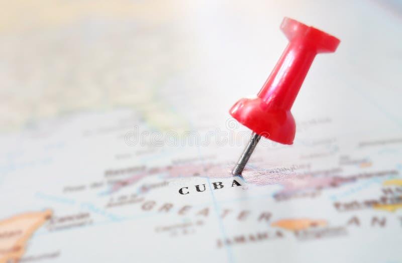 Puntina della mappa di Cuba fotografia stock libera da diritti