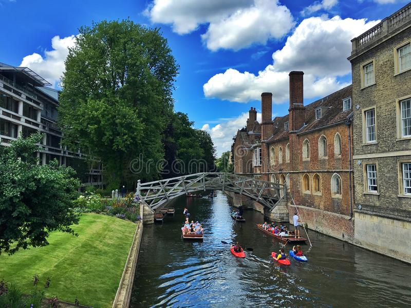 Punting in Cambridge. Punting and Punter royalty free stock image