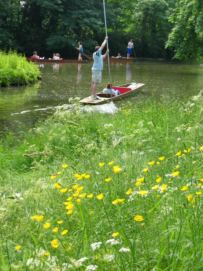 Punting on the river stock image