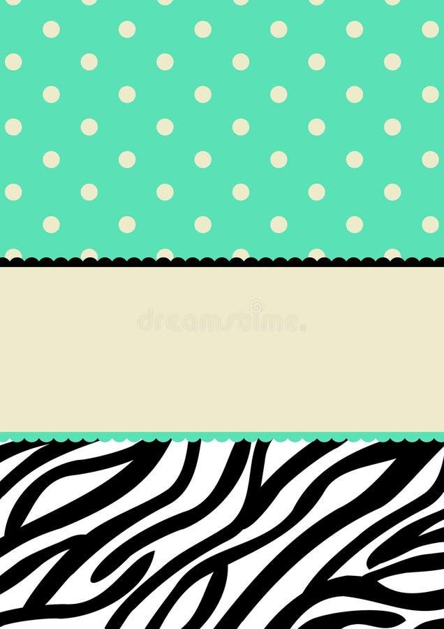 Puntini di Polka e scheda dell'invito del reticolo della zebra illustrazione di stock