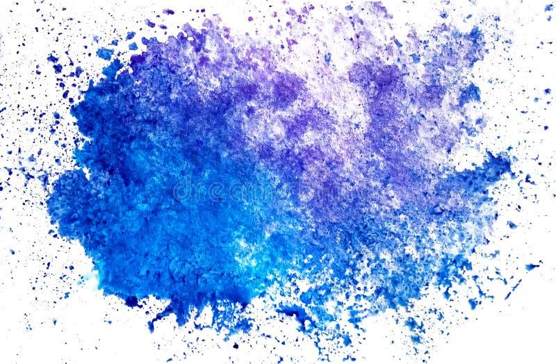 Punto azul horizontal de la mancha blanca /negra de la acuarela en un fondo blanco aislado con el espacio de la copia libre illustration