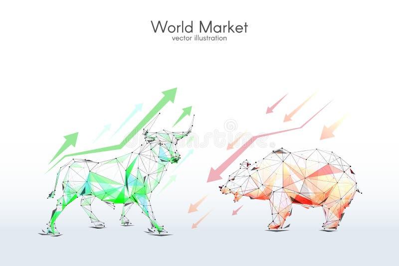 Punto bajo de la bolsa de acción de Bull y del oso polivinílico stock de ilustración