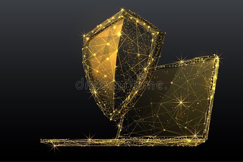 Punto bajo del escudo y del ordenador portátil polivinílico stock de ilustración