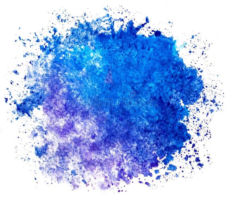 Punto blu rotondo dell'acquerello su un fondo bianco isolato con lo spazio della copia La pendenza dal blu profondo alla porpora  illustrazione vettoriale