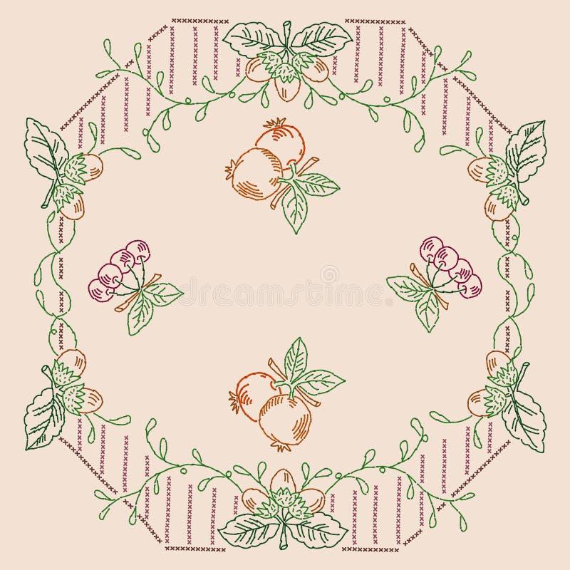 Punto croce decorato della frutta royalty illustrazione gratis