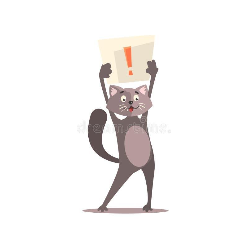 Punto de Cat Holding Paper With Exclamation stock de ilustración